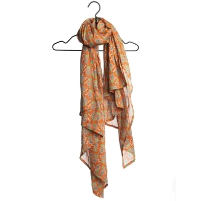 ETOLE VOILE COTON MOTIF OAK ORANGE