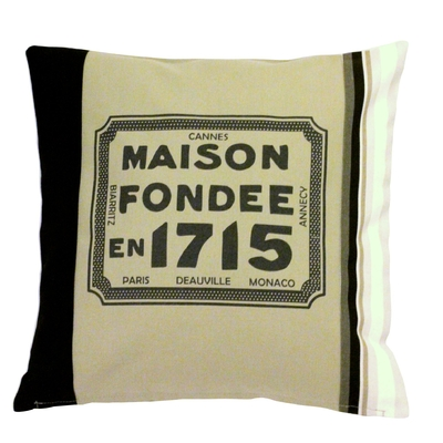 COUSSIN SERIGRAPHIE MAISON FONDEE 1715 GRIS