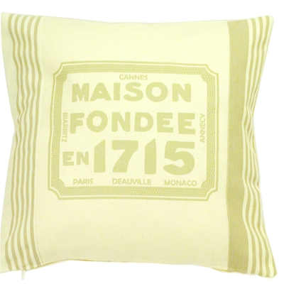 COUSSIN SERIGRAPHIE MAISON FONDEE 1715 BEIGE