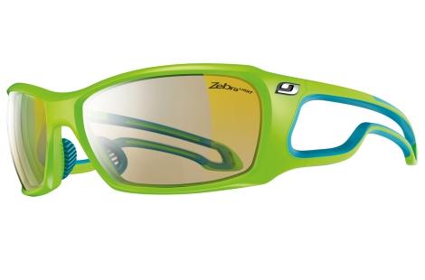 lunettes de trail running VTT julbo Vert Bleu zebra