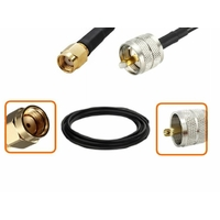 Câble RP-SMA mâle et UHF PL 259 mâle diamètre 6 mm longueur 1 à 12 mètres