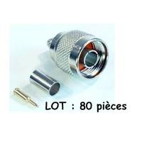 Déstockage Lot 80 connecteurs de type N mâle pour câble coaxial Ø5.4 à 6 mm
