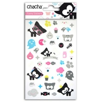 Planche stickers glitter transparent chacha