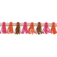 Galon pompons rose,marron et orange