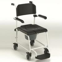 Invacare Cascade - Chaise de douche-toilette à pousser avec accoudoirs et repose-pieds relevables.