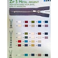 ZIP Maille 5 mm Metal Argent Glissière Non Détachable ( 12 cm )