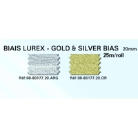 Biais Lurex 20mm Colori OR ( Rouleau 25 Metres )