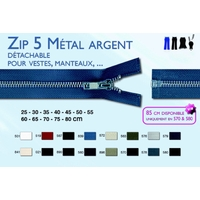 Zip 5 Metal Argent Glissiere Detachable  Veste et Manteau ( 60 cm )