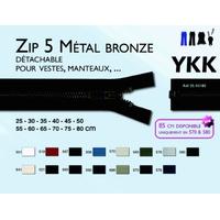 Zip Maille 5 mm Metal Bronze Détachable YKK ( 60 cm )