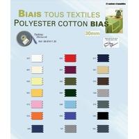 Biais Tous Textiles Polyester Coton 30 a 40mm (Rouleau 25 metres)