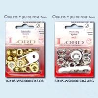 Oeillets + Jeu de pose 7mm (Blister 20 pieces) Aspect OR ou ARGENT