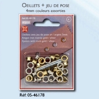 Oeillets + Jeu de pose 4mm (Blister 20 pieces) Aspect OR ou ARGENT