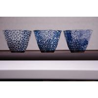 Set de 3 Tasses bleues Japonaises