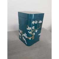 Boite à thé décorative Bleu : Cerisiers