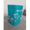 Boite à thé décorative bleue turquoise : Cerisiers