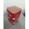 boite décorative rouge cerisiers couvercle