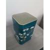 boite japonaise cerisiers bleu canard couvercle
