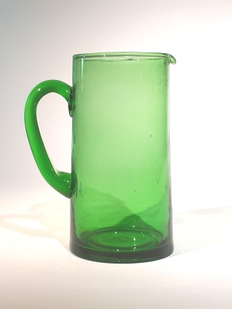 Carafe à anse verte H 18 cm GM