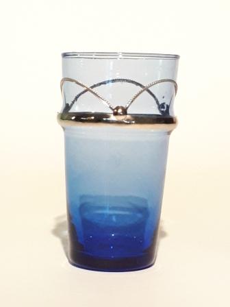 Verre-vase beldi Maillechort H 13 cm Bleu