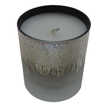 Bougie parfumée, verre blanc et argent