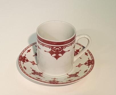 Tasse et sous tasse petit modèle Point Rouge