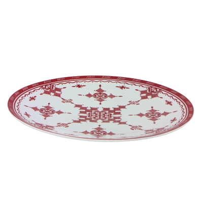 Grand plat rond 40 cm Point Rouge