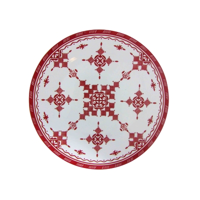 Grand Plat Rond Point Rouge 45 cm