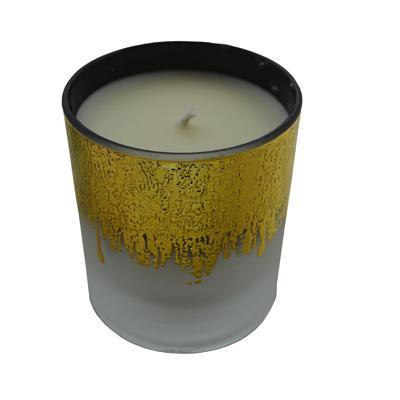 Bougie parfumée, verre blanc et or