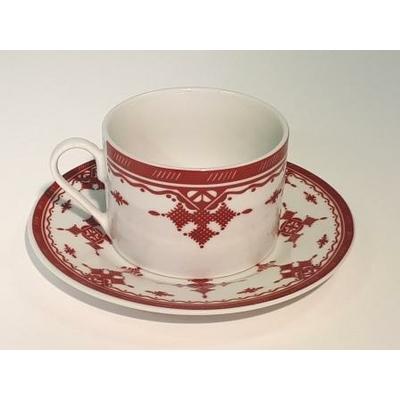 Tasse et sous-tasse grand modèle Point Rouge