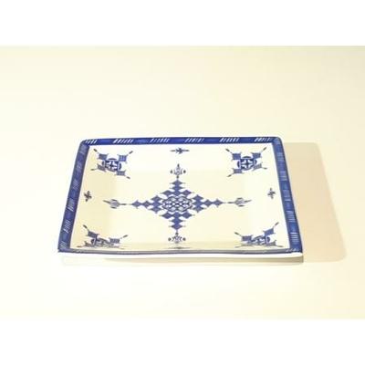 Assiette-plat carrée 15 cm Point Bleu