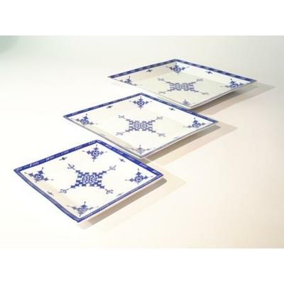 3 plats carrés encastrables Point Bleu