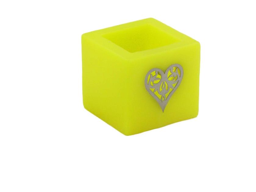 photophore c ur jaune photophores en cire. Black Bedroom Furniture Sets. Home Design Ideas