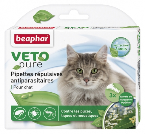 Pipettes r'pulsives VETOpure -antiparasitaires chat