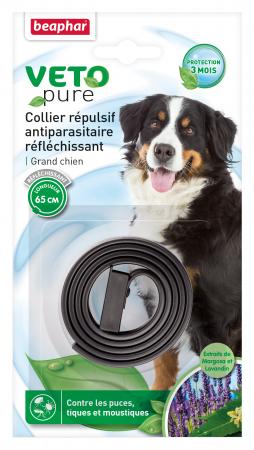 Beapher VETOPURE, collier répulsif antiparasitaire réfléchissant pour grand chien