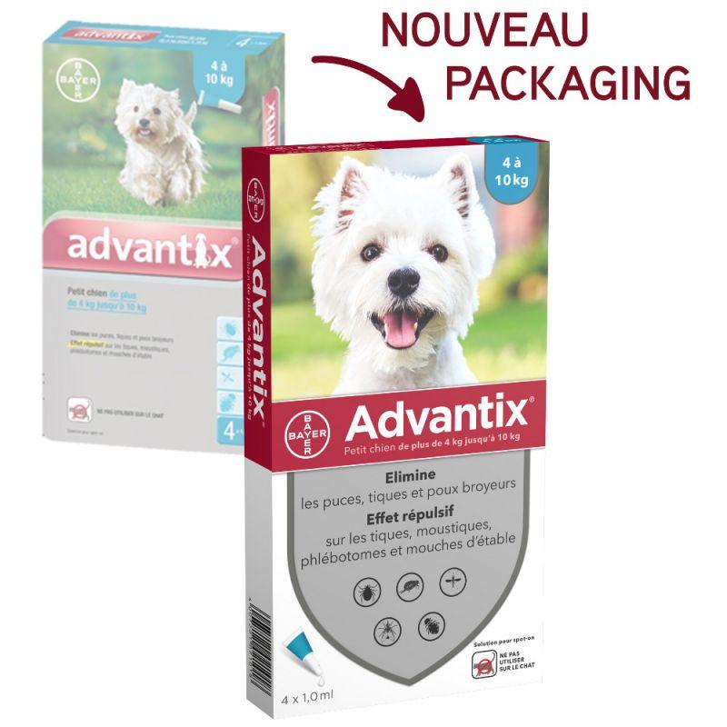 Advantix - Pipettes Anti Parasitaire pour petit Chien - 4 - 10kg