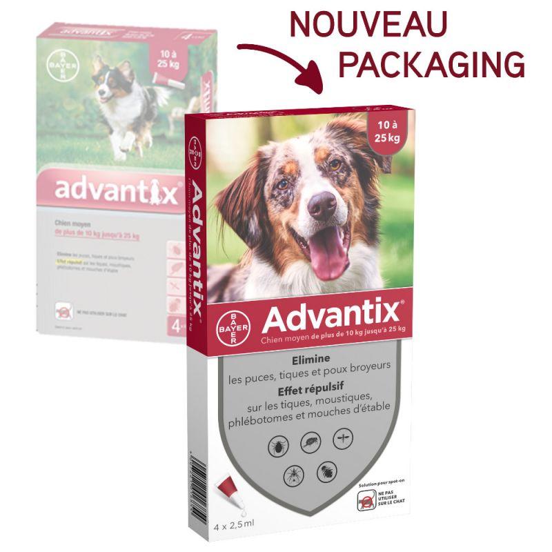 Advantix - Pipettes Anti Parasitaire pour Chien Moyen - 10 - 25kg