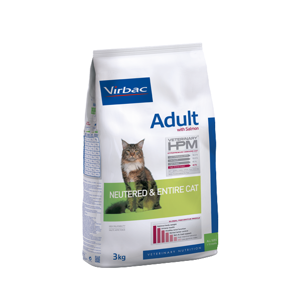 VIRBAC HPM-Neutered_Cat-Adult- Saumon 3Kg_noszanimos