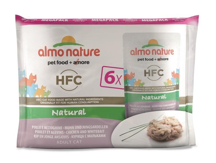 Almo Nature - Pâtée en Pochon HFC Megapack Poulet et Alevins pour Chat - 6x55g Noszanimos