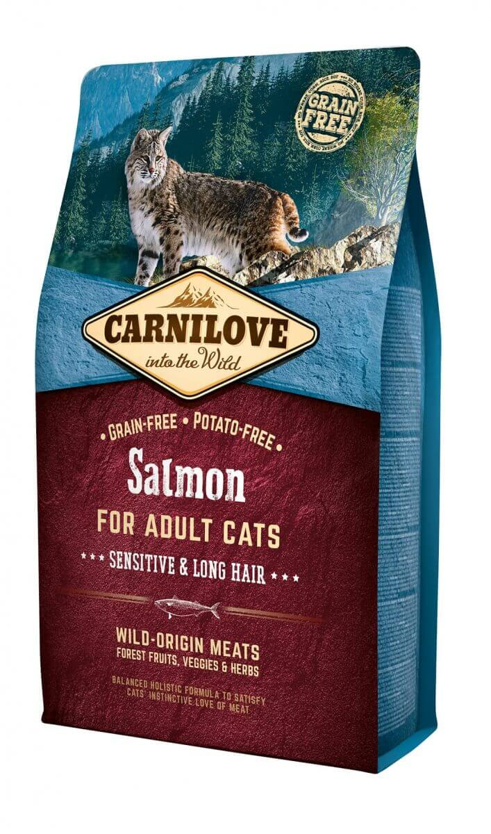 Croquettes Carnilove pour Chat Adult à Poils longs au Saumon
