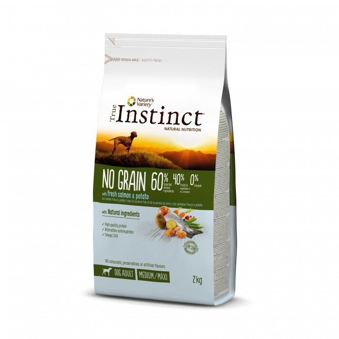 True Instinct No Grain Medium Maxi Adult - Saumon 2kg noszanimos