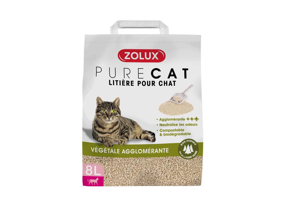 zolux litiere pure cat agglomérante chat 8L