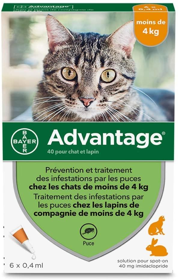 ADVANTAGE Anti-Puces pour Chats – Moins de 4KG - 6 Pipettes NosZanimos