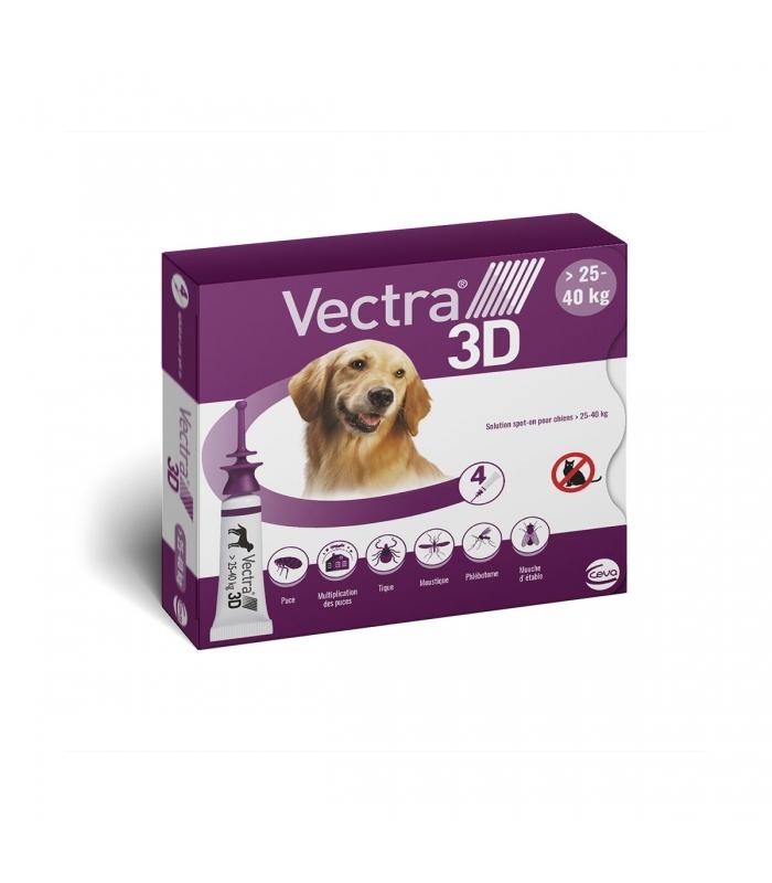 VECTRA 3D pour chien de 25-40KG - 4 Pipettes noszanimos