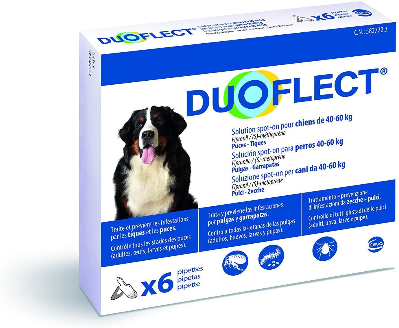 Duoflect - 6 Pipettes Antiparasitaire pour chien de 40 à 60Kg noszanimos