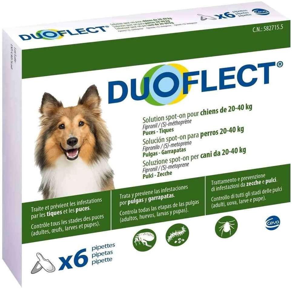 Duoflect - 6 Pipettes Antiparasitaire pour chien de 20 à 40Kg Noszanimos