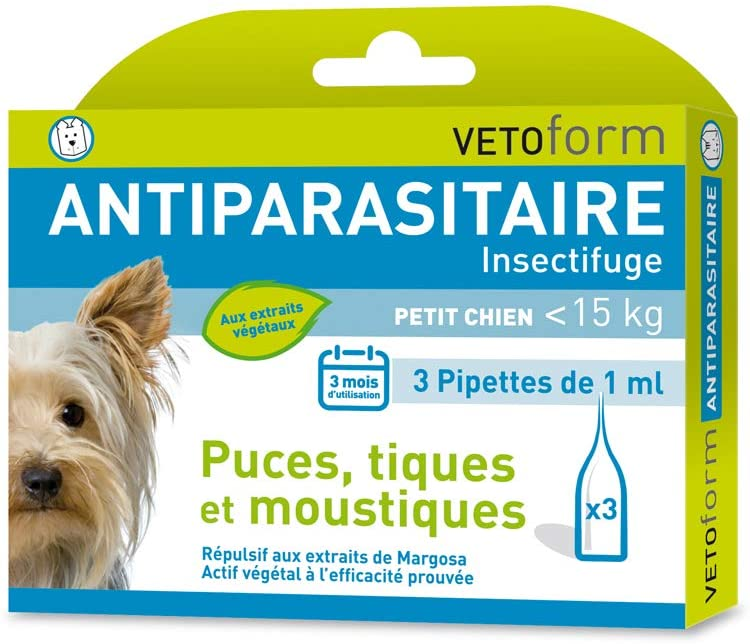 Vetoform Antiparasitaire Pipettes Insectifuges Petit Chien 3 Pipettes noszanimos