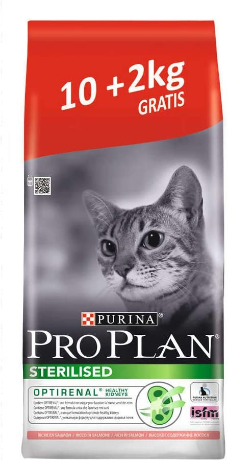 Croquettes Purina Proplan Chat Adulte Sterilised Optirenal Saumon 10kg + 2kg Offert