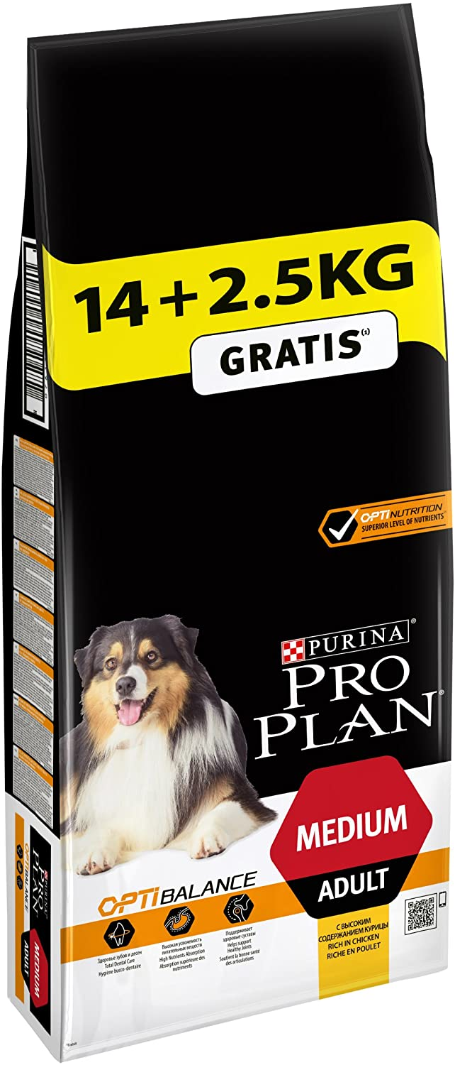 Croquettes Purina ProPlan Chiens Adultes taille moyenne  Poulet 14kg + 2,5kg