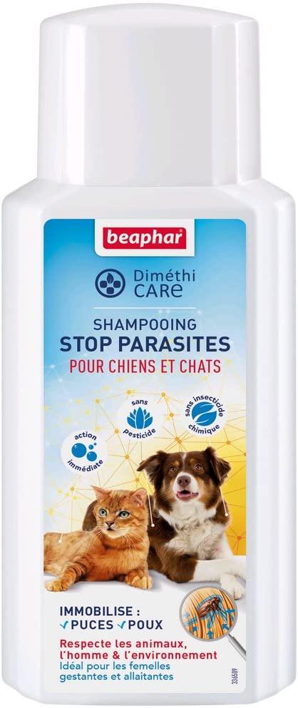 BEAPHAR – DIMÉTHICARE – Shampoing Stop Parasites à l'Aloe Vera pour chien et chat