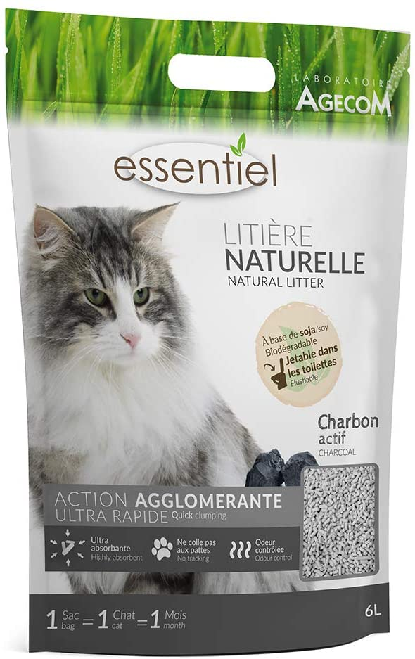 AGECOM Essentiel Litiere Naturelle Charbon NosZanimos
